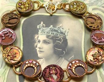 "Amelie 1800s BUTTON bracelet, Victorian Queen of France. 8.5"" Antique Button Jewellery, present gift."