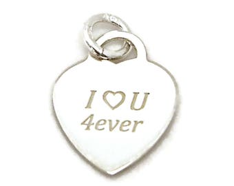 Heart I Love U 4ever Sterling Silver Small Pendant Charm Customize 2075