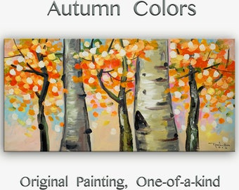 Sale Tree art Original abstract painting Warm Autumn forest on oil painting canvas Ready to hang by tim Lam 48x24