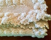 Small Crochet Blanket - Ivory wth Intricate Work - Ruffle Edge - Ivory White Cream - Baby Blanket - Baby Throw - Small Blanket