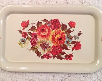Vintage Tray - Painted Roses on Cream - Cottage Farmhouse Style - Dresser Tray - Catchall - Orange Red Roses