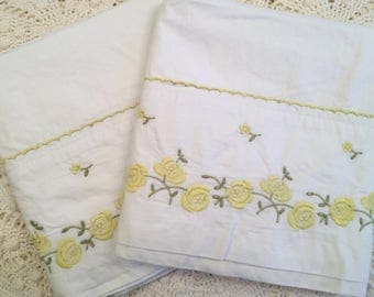 Vintage Springmaid Percale Pillowcases - Bright White Combed Cotton Percale - Fine Cotton Pillowcases - New Old Stock- NOS - Yellow Flowers