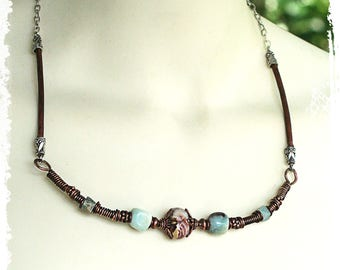 Leather and copper boho necklace choker, Wire wrapped copper choker, Bohemian unisex necklace, 7th Anniversary gift
