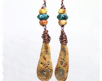 Shoulder duster earrings artisan, Rustic polymer clay statement earrings, Bohemian tribal earrings, Art bead jewelry,