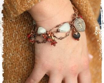 Heart bracelet, Moonstone bracelet, Anniversary gift for wife, Copper bracelet, Rustic boho bracelet, Love bracelet, Gift for girlfriend
