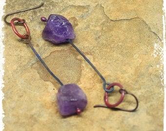 Rustic Amethyst Earrings, Modern Earrings, Minimalist Earrings, Purple Dangle Earrings, Gift for Wife, Bohemian Earrings, Everyday Earrings