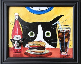 Funny Cat Art - Silent Mylo Tuxedo Cat - Cat with Hamburger - Clay on Canvas - Tuxedo Cat Art - Gift for Cat Lover - Crazy Cat Lady