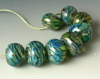 Lampwork beads/SRA lampwork/beads/lampworkglass/Double Helix/Hawaii/rainbows/metallic