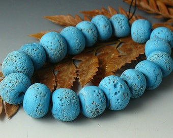 Lampwork beads/SRA lampwork/beads/turquoise/rustic/earthy/etched/tribal/