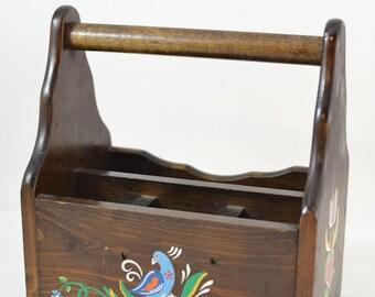 Wooden silverware caddie Mid Century Retro Kitchen