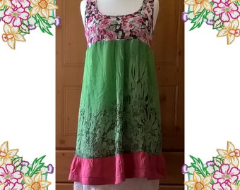 Layers of Silk. Upcycled Refashioned Lagenlook Layered Dress. Pink, Green, Cream. Recycled Clothing by DearLisa