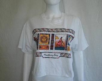 Closing Shop 40%off SALE Monterey Bay crop top half t shirt, Over sized sun moon palm tree sail boat t shirt
