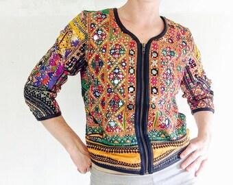 Vintage Kuchi Banjara Tribal Mirror Work Boho Bolero Jacket Leather Trim
