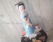 The Seamstress Art Doll Singer Tin Seamstress Functional Art Doll Sculpture Pin Cushion Sewing Theme Spool Art Doll