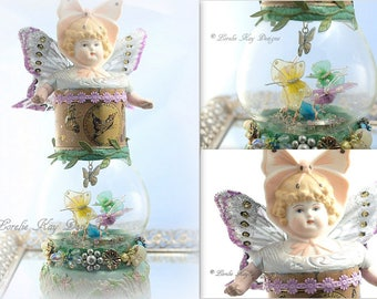 A Butterfly's Garden Dome Art Doll Globe One-of-a-Kind Assemblage Art Doll Butterfly Doll Lorelie Kay Original Dome Cloche