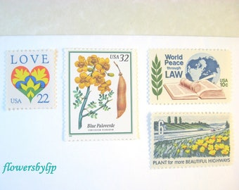 Gold Floral Wedding Postage Stamps, Flowering Tree - Love Heart - Yellow Flower Blue Green - Peace Law Stamps, Mail 20 invites 2 oz 70 cents