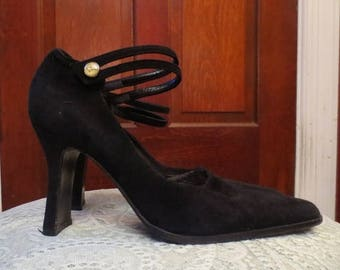 30% OFF Vintage Black Suede Ankle Strap High Heels Size 37, 7.5 Genuine Italian