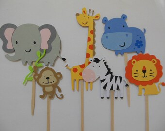 Zoo or Safari Animal Cupcake Toppers - Gender Neutral Baby Shower Decorations - Gender Neutral Birthday Party Decorations - Set of 6