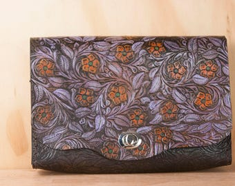 Leather Clutch Bag - Tooled Leather Clutch Purse with Flowers - Purple, green, orange and antique black - One of a Kind