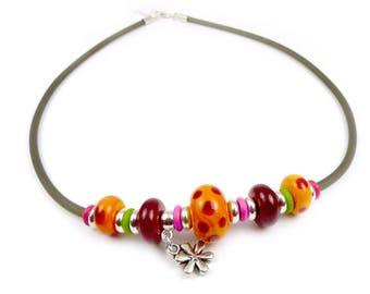 Handmade lampwork & gum necklace - red and orange