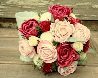 Sola flower bouquet, blush and marsala wine flowers, wooden flowers, wedding bouquet, blush brides bouquet, ecoflowers, blush and burgundy