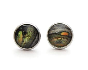 Upcycled Made with Paint Half Planet Stud Earrings in Green, Orange, Grey, and Black