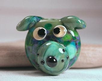 Artisan Glass Dog Face Focal Bead Whimsical Lampwork Divine Spark Designs SRA