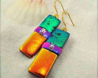 Dichroic glass jewelry, dichroic fused glass earrings, fused glass art, rainbow earrings, statement earrings, dichroic, fused dichroic beads