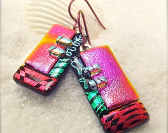 Dichroic glass earrings, fused glass jewelry, hypoallergenic earrings, jewelry handmade, fused glass art, dichroic earrings, trending now