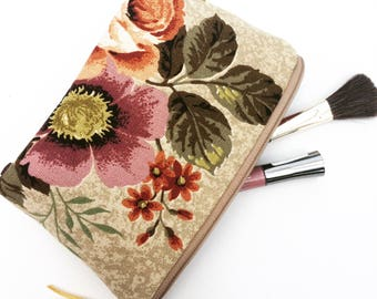 Sandersons Vintage Floral Fabric Makeup Bag, Cosmetics Bag