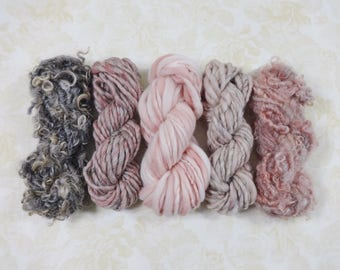 Handspun Art Yarn Mini Skein Collection Variety Pack 60 yards pink gray