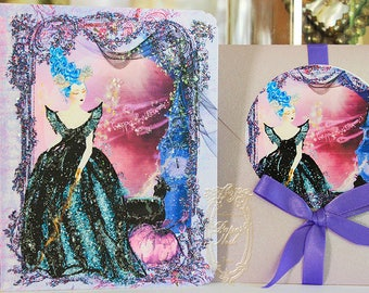 Marie Antoinette Halloween Maleficent Card Set 6 with Lavender Metallic Envelopes and Round Envelope Seals