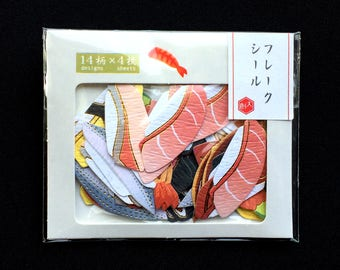 Sushi Stickers - Chiyogami Paper Stickers - Japanese Stickers - Food Sticker Flakes   (S277)