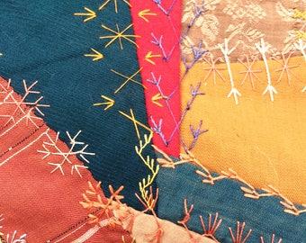 Victorian Crazy Quilt - Silks Woolens Suiting