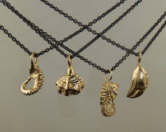 SALE HOLIDAY SALE, Petite 14K Gold Charm Pendant, OctopusMe, Tentacle, Seahorse, crab Claw, Shell Necklace