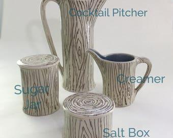 MADE TO ORDER - Faux Bois serveware pieces | Sugar and creamer | cocktail pitcher | Sugar jar | rustic decor | Farmhouse decor