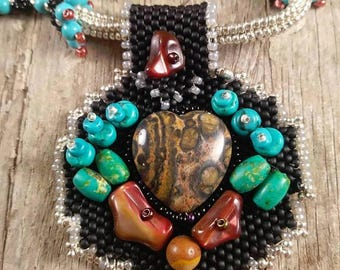 turquoise leopard jasper mexican ryolite beaded necklace mookaite picture jasper black blue red on chain