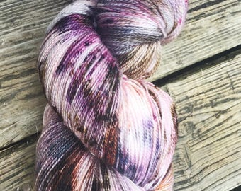 Sock Yarn, Hand Dyed, Superwash Merino Wool, 'Heather on the Moors' Speckled Yarn