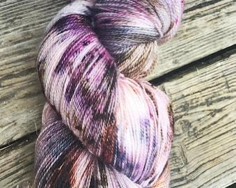 Sock Yarn, Hand Dyed, Superwash Merino Wool, 'Heather on the Moors' Speckled Yarn