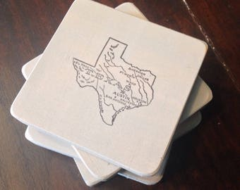 Rustic Texas Wood Coasters Set of Four Pale Gray