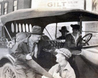 vintage photo 1920s Men Share 2 Man Lumber Saw Car Runner Downtown