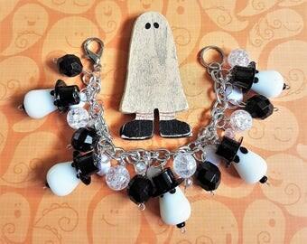 Ghost Bracelet, Halloween Charm Bracelet, Ghost Jewelry, Halloween Jewelry, Halloween Bracelet, Ghost, Beads, Spooky, Cute, Chunky, Jewelry