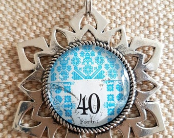 Upcycled stamp pendant / Hungarian stamp / snowflake design necklace / blue embroidered style necklace