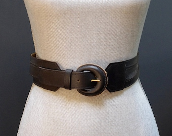 Vintage Black Leather Triple Strand Belt, Black Leather Waist Belt, Black Waist Belt, Triple Layer Belt, Black Leather Belt, Canary Island