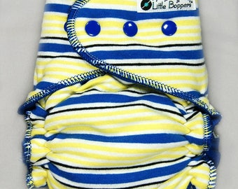 Custom Cloth Diaper or Cover - Blue Yellow and White Stripes - You Pick Size and Style - Made to Order Nappy or Wrap