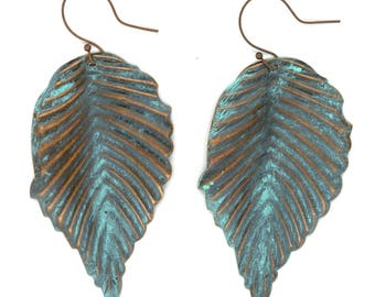 Copper Tone with Turquoise Patina Bohemian Leaf Earrings