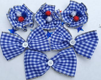 Large Dog Collar Bows - set of 6 Independence Day, 4th of July, Military, USA, Red White & Blue, Election Day, Memorial Day