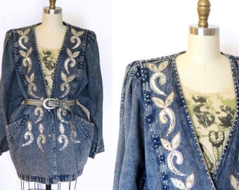 Vintage Denim Jacket Over- sized Blue Wash Denim Jacket  90s Embellished  Sequin & Studs  Sz. L