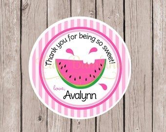 PRINTABLE Pink Watermelon Birthday Party Favor Tags / Print Your Own Watermelon Favor Tags in Pink and Green Watermelon / You Print