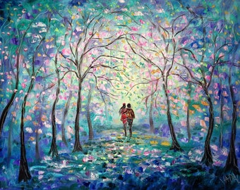Canvas Giclee Print -  Springtime Walk -Cherry Blossoms -   24 x 18